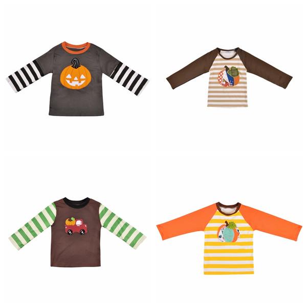 Bebé Halloween Patchwork Camisetas Algodón Manga Larga Calabaza Rayas Impreso Bordado Niños Ropa de Diseñador Niños Tops TTA1736