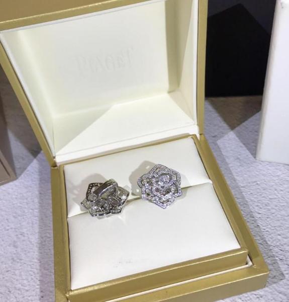 925 Sterling Silber Ohrringe Openwork Rose Ohrstecker für Frauen Bankett Geschenk Designer Rose Kristall Ohrringe Schmuck