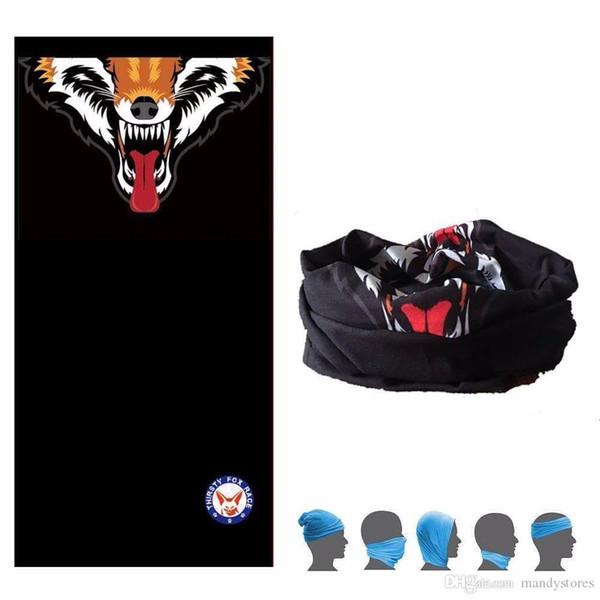 Toptan-1 Adet Siyah Susuz Fox Fonksiyonlu Bandana Windproof Yüz Nefes Emici Polyester Mikrofiber Başörtüsü Maske