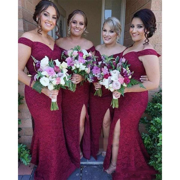Long Burgundy Bridesmaid Dresses Mermaid Sweetheart Backless Lace Side Slit Plus Size Maid Of Honor Wedding Guest Dress Prom Cocktail Dress