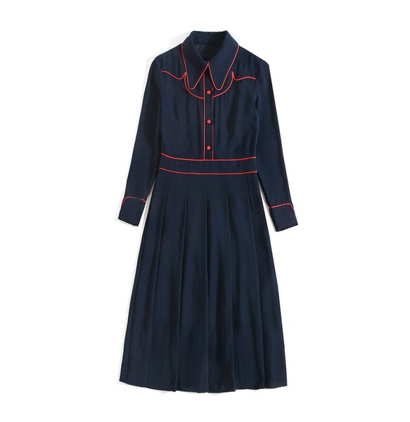 2019 Summer Fall Long Sleeve Peter Pan Neck Contrast Color Panelled Buttons Blue Mid-Calf Dress Luxury Runway Dresses AG2000JYJ