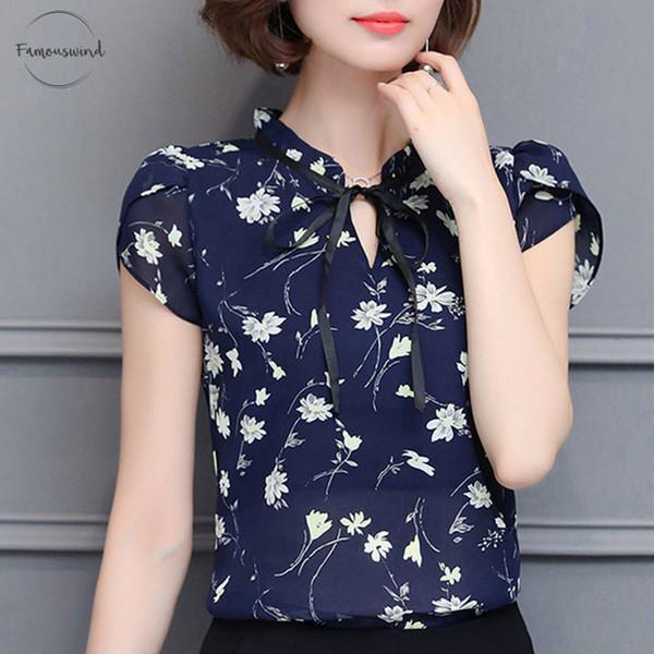 Top floreale nuovo chiffon camicette donne di estate E Camicie Dolce camicetta Bluas manica corta Abbigliamento femminile Feminina