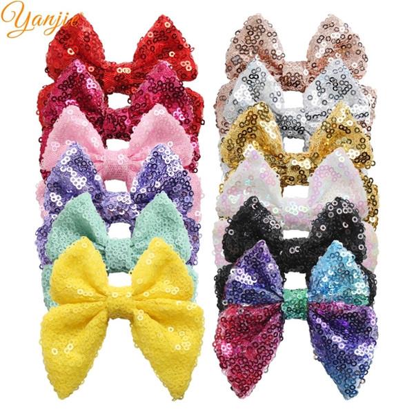 KidsMX190923 için 12pcs / lot Şık 3 '' Giltter Pullu Sailor Saç Yaylar Kız Barrette Trendy Hairbow Bantlar DIY Saç Aksesuarları