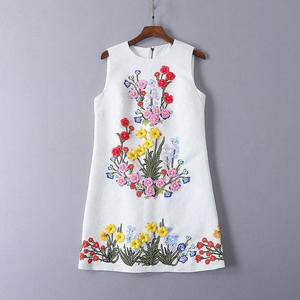 315 2019 Luxus-Designer-Frauenkleider mit Rundhalsausschnitt, Pailletten, ärmellos Über dem Knie A Line Solid SH