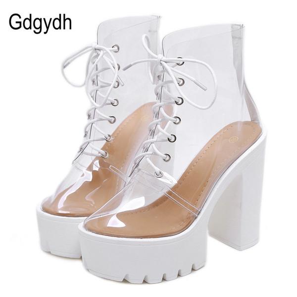 Gdgydh Style Européen Transparent PVC Haut Talons Femmes Chaussures Bottines D'été Chaussures Femme Dentelle Up Vente Chaude Talon Carré
