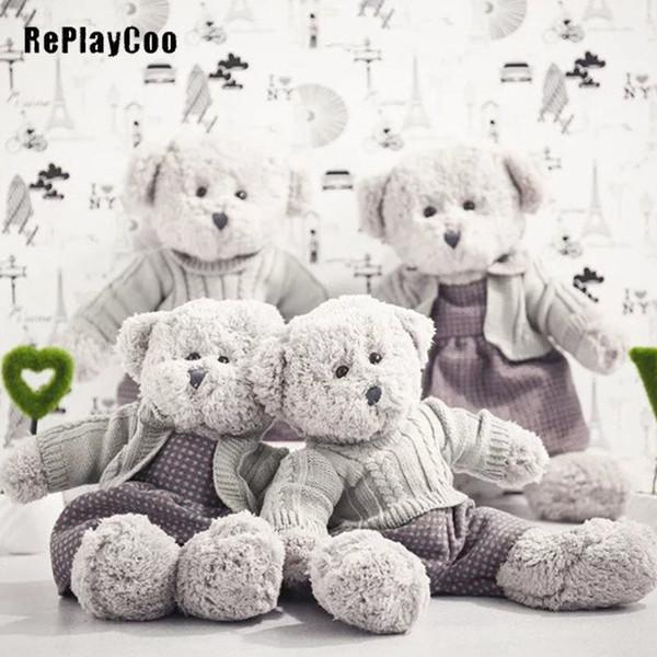 Couple Teddy Bear Plush Toys Tedy Bear Clothes Soft Toys Dolls Kawaii Teddy Bears Stuffed Animals Gifts J10201