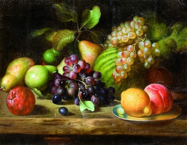 free shipping wall art decoration picture classical still life grapes peaches fruit oil painting canvas prints on canvas