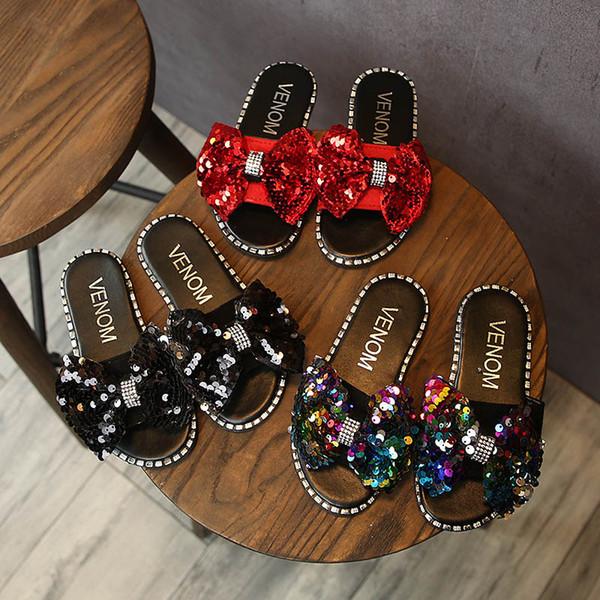 Été nouvelle paillettes filles sandales princesse enfants chaussures mode filles pantoufles enfants pantoufles chaussures enfants arcs plage sandales A4910