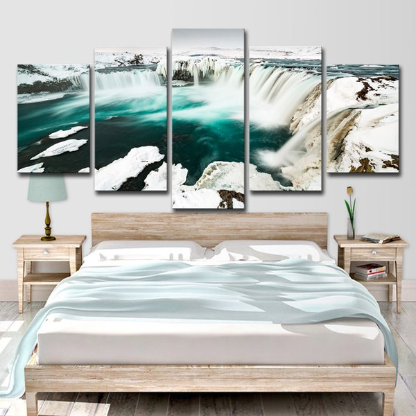 HD Printed 5 Piece Canvas Art Glacier Falls Wall Art Picture Home Decoration Wall Pictures for Living Room Free Shipping