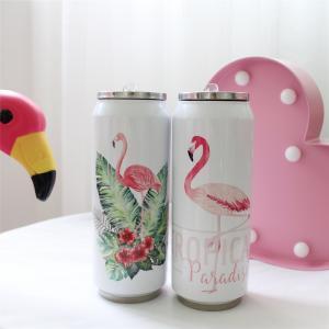500 ml Flamingo Insaluted Tassenbecher Edelstahl mit Stroh Catoon gedruckt Wasserflasche Student tragbare Tasse Auto Flasche FFA1540