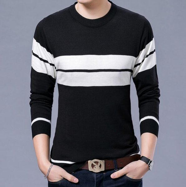 Factory direct men's sweater casual youth solid color men's sweater V-neck T-shirt pullover shirt men's clothing