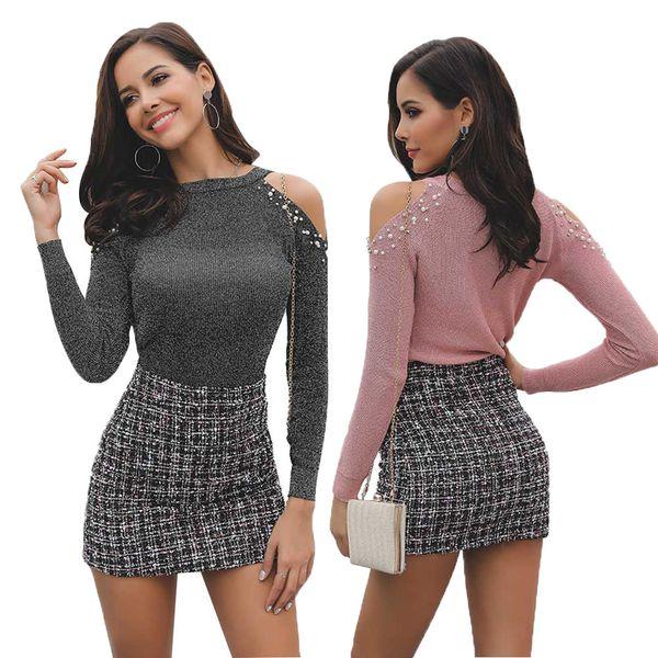 No 2019 Sha Season Pure Color Repair The Body Sleeve Head Long Sleeves Jacket Sexy Strapless Pearl Knitting Shirts Female
