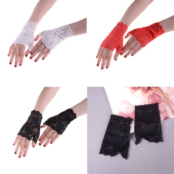 Women Lace Driving Sunscreen Glove Charm Sexy Lady Mittens Bridal Gloves Wedding Gloves 4 Colors