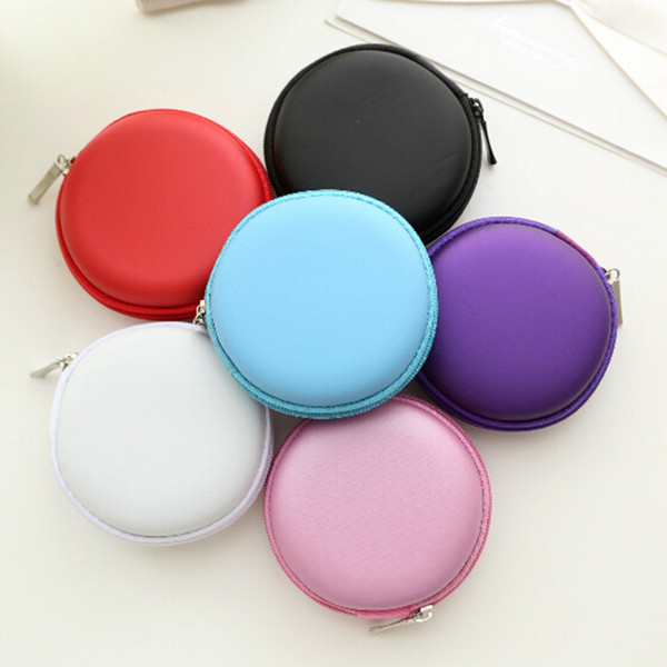Portable Case Fidget Hand Spinner Zippered Round Storage Hard Bag Headset box for Earphone Case SD TF Cards Earphone Bag