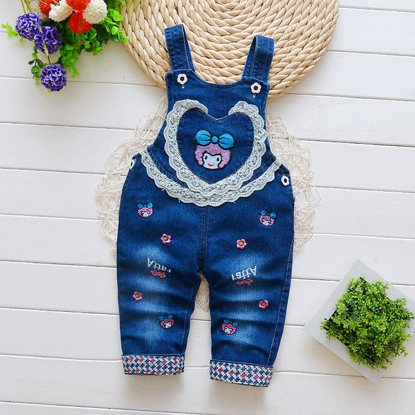 Spring autumn baby girls pants cartoon denim overalls pants kids girls fashion sport trousers casual jeans pants