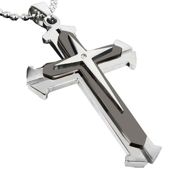 Stylish Jewelry Fashion Men Women Cross Necklace Unisex Stainless Steel Cross Pendant Chain Necklace Jewelry Austrian Dropship