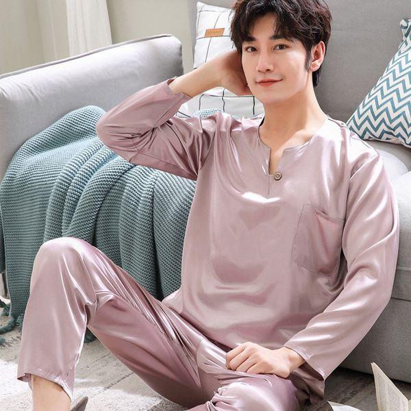 3XL Plus Size Casual Floral Satin Men Pajamas Set Rayon Turn-down Collar Pyjamas Suit Full Length Hand Button 2PCS Sleepwear
