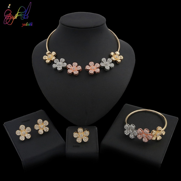 Yulaili New Arrivals Fashion Tricolor Crystal Flower Necklace Earrings African Jewelry Sets For Bridesmaid Engagement Girl Party Gifts