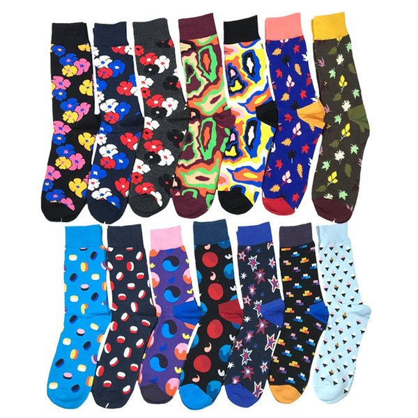1 pair Happy Men socks combed cotton bright colored funny socks men's calf crew for business causal dress wedding gift