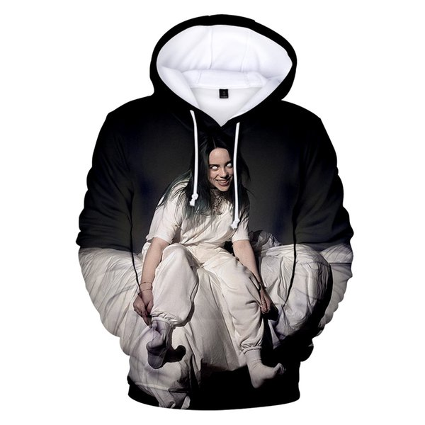 new billie eilish hoodie 3d print harajuku sweatshirt fashion winter warm men/women hoodies leisure hip hop boy/girl streetwear, Black