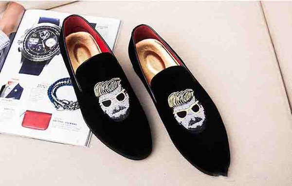 Classic Men Loafers Velvet Charming Business Loafers Designer Dress Mature Men Shoes Man With Sunglasses Nice Flats