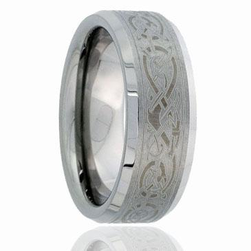 Cool Chinese Dragon laser engraving Brush Tungsten Ring with Beveled Edges sides wholesales 8mm