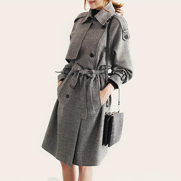 La MaxZa Striped Loose Korean Trench Coat for Women Casual Elegant Ladies Windbreaker England Style Vintage Designer Fall Coat