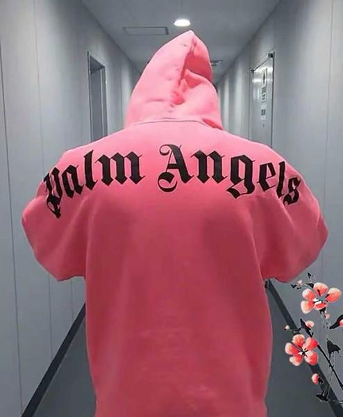 Palm Angles Rose Jaune Fluorescent 19SS Nouveaux Hommes Femmes À Capuche De Mode Hip Hop Logo Grand Pull Bright PA À Capuche Sweat