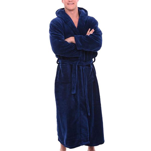 Warm bath robe Men's Winter Plush Lengthened Shawl Bathrobe Home Clothes Long Sleeved Robe Coat bathrobe men dressing gown men