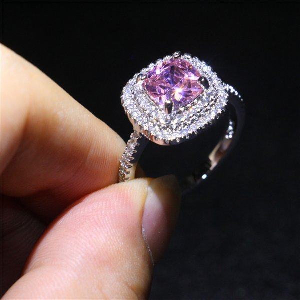 Women 925 Silver Plated Ring Pink Sapphire CZ Diamond Finger Rings for Bride Wedding Engagement Jewelry Hot Sale Party Gift Size 5-10