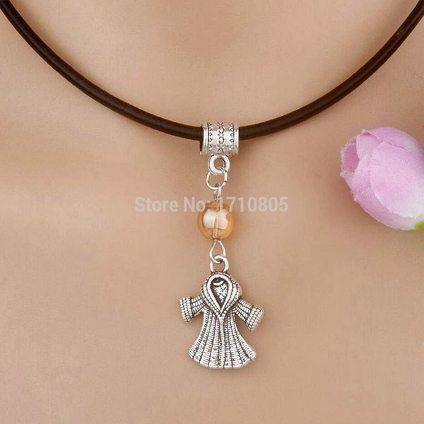 10pcs Alloy Ancient Silver Sweater Coat Multicolor Glass Bead Charm Pendant Leather Rope Necklace Women Jewelry Valentine's Day Present