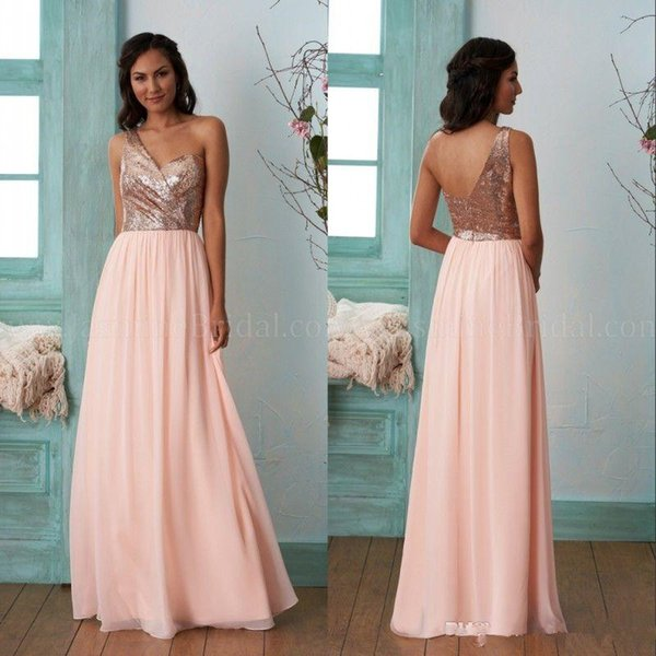 Cheap Gold Bridesmaid Dresses A Line One Shoulder Sequins Chiffon Long Beach Wedding Gust Dress Maid of Honor Gowns