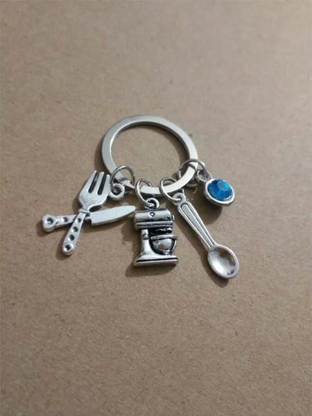 Venta al por mayor de moda estrella azul piedra cuchillos / cucharas / máquina de pan / exprimidor Charm llavero anillo para las llaves bolso del coche llavero llavero bolso A176