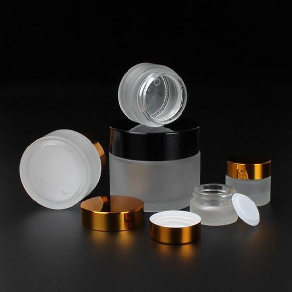 50g 30g 20g 15g 10g 5g Frost Cam Krem Kavanoz gümüş altın siyah kapaklı 1oz Cam Konteyner 1 / 3oz Kozmetik Ambalaj F1817