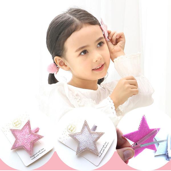 1 UNIDS Nueva Moda Lindo Rhinestone Estrellas Niñas Pinzas para el Cabello Niños Horquillas Niños Accesorios para el Cabello Princesa Headwear