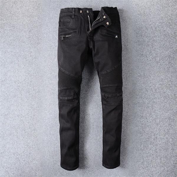Мужские джинсы Slim Fit рваные джинсы мужчины Привет-улица мужские проблемные джинсовые бегуны колено отверстия промывают разрушенные брюки
