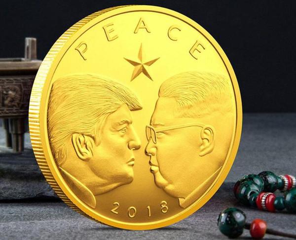 2018 Donald Trump Moneta commemorativa Pace Presidente americano Corea del Nord Avatar Monete d'oro Distintivo d'argento Collezione di oggetti in metallo