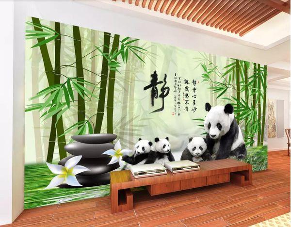 3d room wallpaper custom photo non-woven mural Panda national treasure bamboo forest cobblestone TV background wall wallpaper for walls 3 d