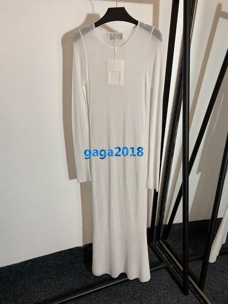 high end women girls knit shirt dress see-through look crew neck long sleeves mermaid midi skirt top quality fashion design luxury dresses
