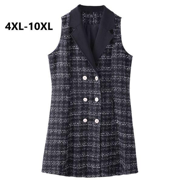 Плюс размер 4xl 6xl 8xl 10xl весна и осень длинный участок был тонкий жилет костюм женский 2018 Новый корейский без рукавов пальто большой ярдов