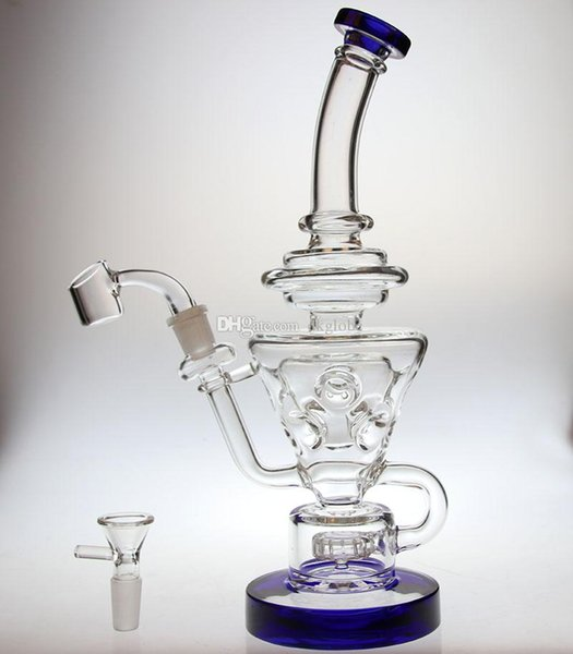 """cheapest Bong Thick glass 10.5""""FTK glass recycler with showerhead perc glass water pipe hollow out design design 14.4mm joint"""