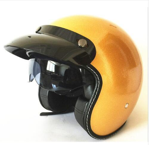 Adult Open Face Half Leather Helmet Harley Moto Motorcycle