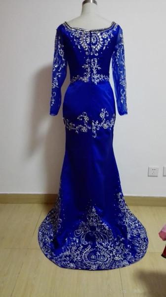 2019 New A-Line Dubai Kaftan Evening Dresses Long Sleeve Embroidery Satin Formal Party Gowns Vestido De Festa