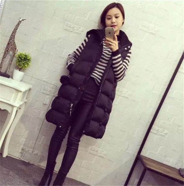 Hooded Vest Female Thicken Warm Cotton Down Jackets Women Single Button Loose Sleeveless Long Coats