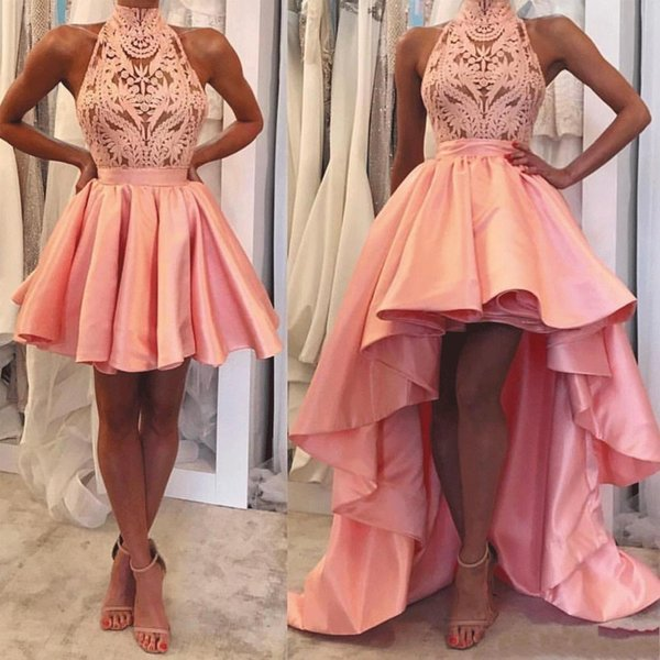 2019 Girls Detachable Skirt Prom Dresses Short Halter Neckline Guipure Lace and Satin Peach High Low Prom Gowns Evening Dresses