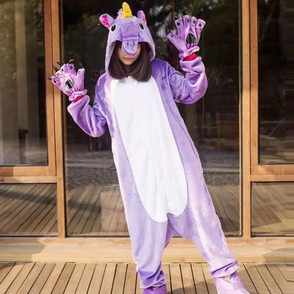 2019 Unicorn Pajamas Onesie Women Kugurumi Panda Winter Flannel Pajama Kigurumi Adult Nightie Stitch Unicornio Sleepwear OverallQ190330