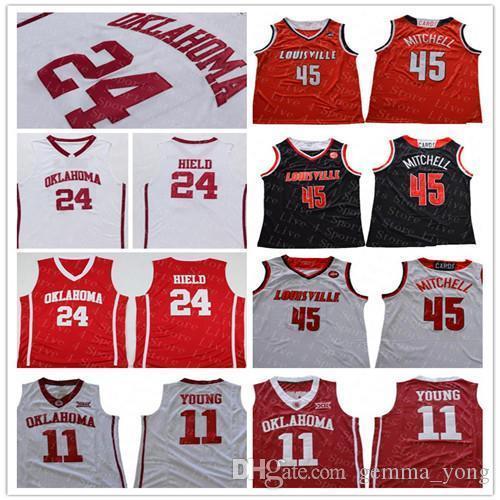 Hot Sale Oklahoma Sooners Basketball 24 amis Heild 11 jeunes Jersey Noir Rouge Blanc Hommes Louisville Cardinal 45 Mitchell Sport Maillots pas cher