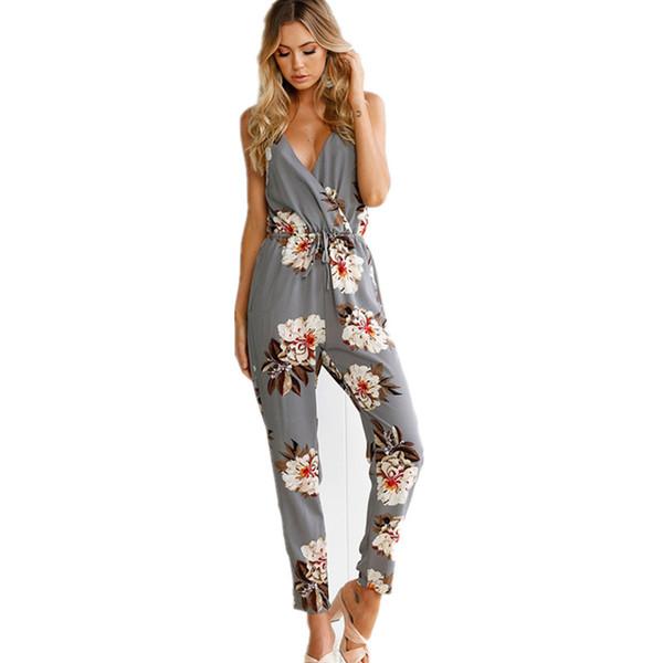 Casual Blumendruck lange Strampler Womens Jumpsuit Sexy V-Ausschnitt, gerader Overall Streetwear-Sashes-Overall