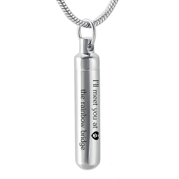 LH14 38mm Cremation Cylinder Urn Pendant Hold Pets Ashes,Custom Dog Cat Memorial Ashes Jewellery-I'll meet you at rainbow bridge