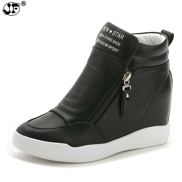 autumn winter platform wedge heel boots Women Shoes with increased platform sole female fashion casual zip botas 855